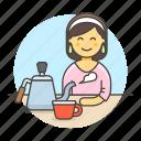 maker, cafe, kettle, drinks, cafeteria, stovetop, gooseneck, female, cup, shop, barista, coffee