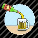 ale, bar, beer, bottle, drink, galcohol, jar, pour, pourin, serving