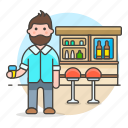 club, beer, drink, bar, lalcohol, full, holding, client, pub, bottles, glass, tavern, stool, counter, male