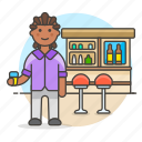 club, bar, counter, tavern, beer, glass, bottles, pub, male, drink, holding, full, lalcohol, stool, client
