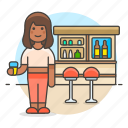 bar, beer, bottles, client, club, counter, drink, female, full, glass, holding, lalcohol, pub, stool, tavern