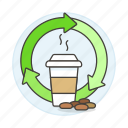 beans, coffee, cup, drinks, ecosystem, friendly, recyclable, recycle, takeaway icon
