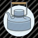 appliance, drinks, kettle, kitchen, metal, pot, stovetop, tea, teakettle icon