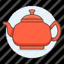 1, appliance, drinks, kettle, kitchen, pot, red, tea, teakettle icon