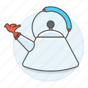 2, appliance, drinks, kettle, kitchen, pot, stovetop, tea, teakettle, whistling icon