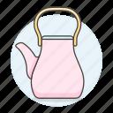 3, appliance, drinks, kettle, kitchen, pink, pot, tea, teakettle icon