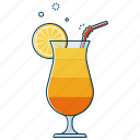 beverage, cocktail, drink, glass, juice, mocktail, orange icon