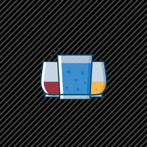 beer, blue, cocktail, drink, glass, lagoon, orange icon