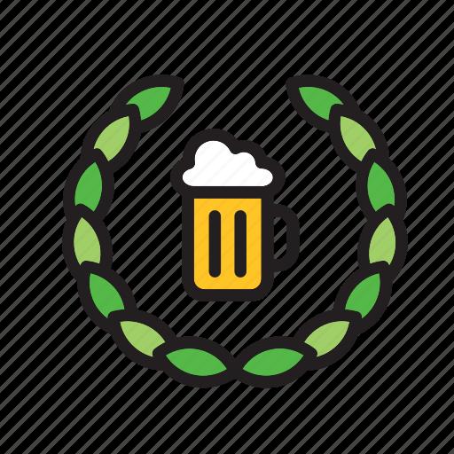 beer, drink, mug, olive, stein, tankard, wreath icon
