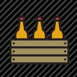 beer, beverage, bottle, box, case, drink, wooden icon