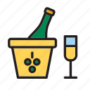 beverage, bottle, champagne, drink, drinking, glass, ice bucket icon