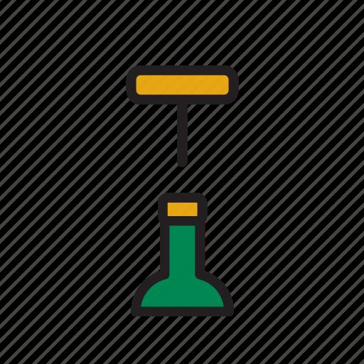 beverage, bottle, corkscrew, drink, drinking, opener, wine icon