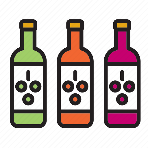 bottle, drink, red, rose, white, wine, winery icon