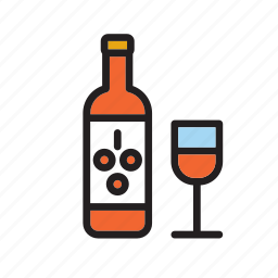 beverage, bottle, drink, drinking, glass, rose, wine icon