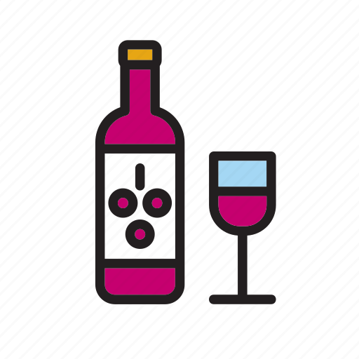 beverage, bottle, drink, drinking, glass, red, wine icon