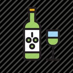 beverage, bottle, drink, drinking, glass, white, wine icon
