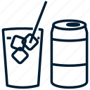 beverage, can, coke, cola, drink, glass, soda icon