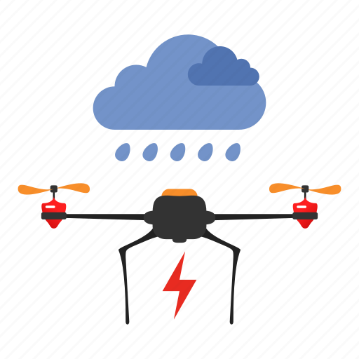 copter, delivery, drone, quadcopter, storm, weather icon