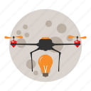 copter, delivery, drone, moon, night, quadcopter icon