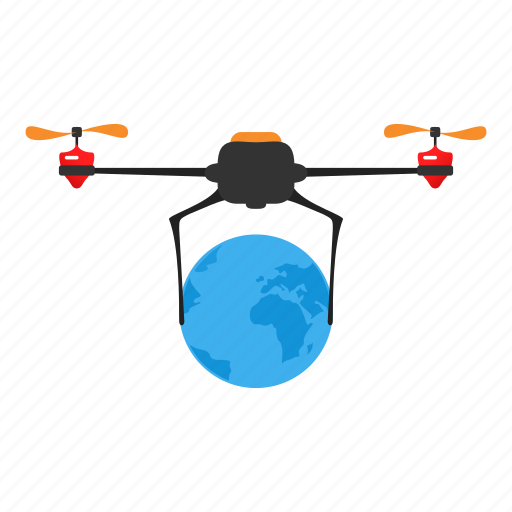 copter, delivery, drone, internet, network, planet icon