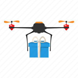 box, copter, delivery, drone, gift, nanocopter, quadcopter icon