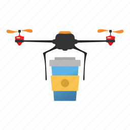 coffee, copter, delivery, drink, drone, quadcopter, starbucks icon