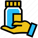 bottle, drugs, hand, medicine, pharmacy, pills bottle icon
