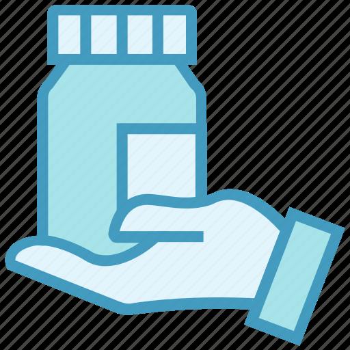 Bottle, drugs, hand, medicine, pharmacy, pills bottle icon - Download on Iconfinder