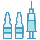 ampoule, drugs, injection, medical, syringe, vaccination, vaccine icon