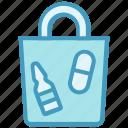 drugs, hand bag, medicine, pharmacy, pills bag
