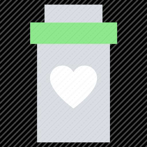 bottle, drugs, heart, medicine, pharmacy, pills bottle icon
