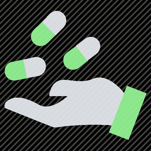 capsules, dealer, drugs, hand, healthcare, medicine, offer icon