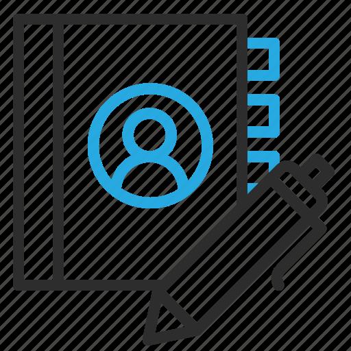 add, address, book, edit, pen, write icon