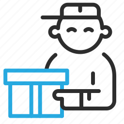 delivery, package, parcel, person icon