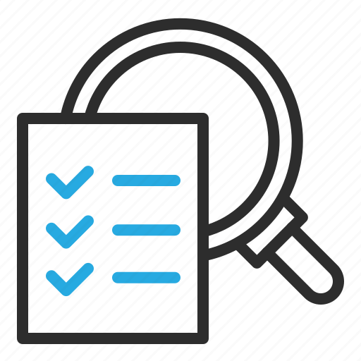 checklist, data, detail, look, report, statistics icon
