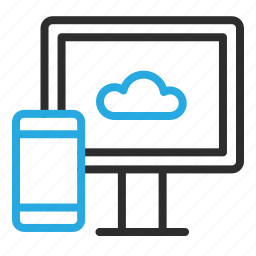 cloud, device, mobile, monitor, phone, smartphone, sync icon