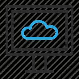 cloud, computer, desktop, monitor, pc, storage, sync icon