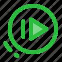 audio, music, play next, ui, user interface, video icon