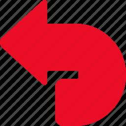arrow, back, backward, navigation, previous, revert, undo icon