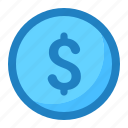 coin, currency, dollar, money, moneysign, sign icon