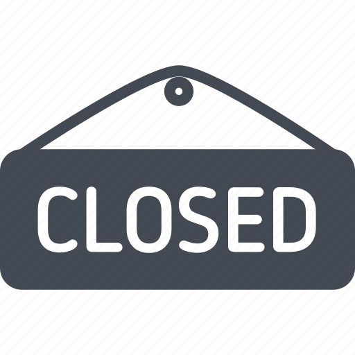 business, closed, online, shopping, sign, solid icon