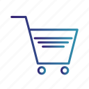 cart, gradient, online shopping, trolley, verified cart items icon