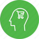 brain, cart, discount, ecommerce, mind, shop, user icon
