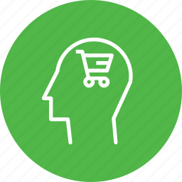 brain, cart, discount, ecommerce, mind, shop, user icon