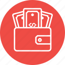 dollar, ecommerce, finance, money, purse, wallet icon