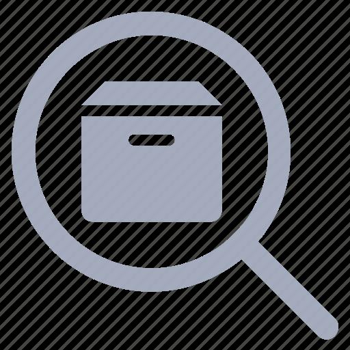 box, delivery, logistics, parcel, search icon