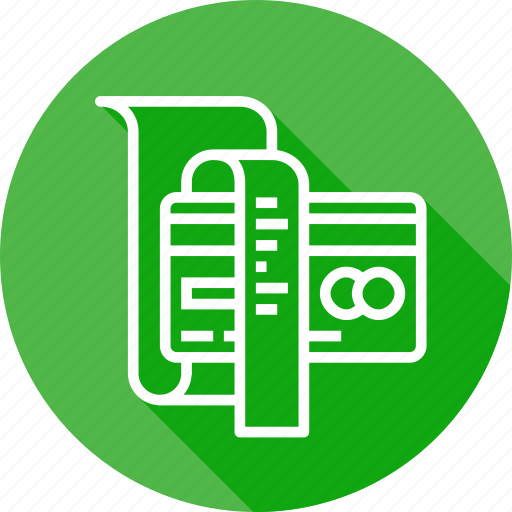 bill, card, credit, debit, details, reciept, sell icon