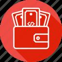 dollar, ecommerce, money, pocket, purse, wallet icon