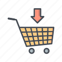add to cart, online shopping, trolley icon