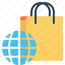 bag, cart, ecommerce, finance, shop, shopping, world icon